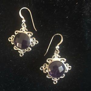 Jay King sterling purple dangle earrings